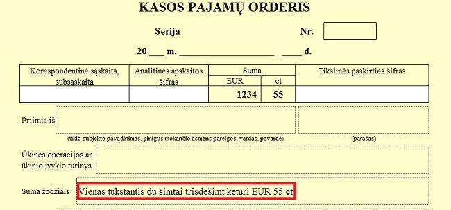 Suma žodžiais eurais KPO, KIO